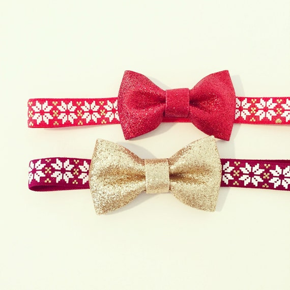 Holiday Nordic Print Glitter Bow Headbands | Red, White + Gold Christmas Bow Headbands for Baby Toddlers Girls, Burgundy Wine Red Gold Bow