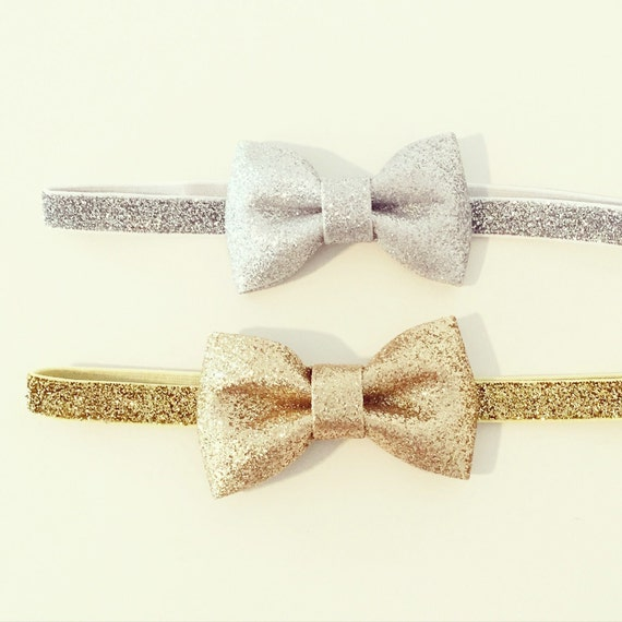 Glitter Bow Headbands | Silver + Gold Glitter Elastic Headbands for Baby Toddlers Girls, Gold Glitter Bow Headband, Silver Gold Metallic