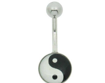 Yin Yan Ying Yang belly bar, surgical steel 10mm long bar