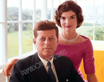 JOHN F. KENNEDY & Jacqueline Onassis 5x7 or 8x10 Photo Print Hollywood 1960s Presidential, Vintage Golden Age of Hollywood Portrait