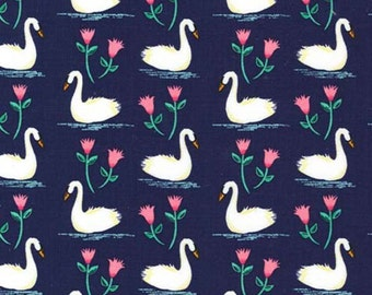 Midnight Swans a Swimming Cotton / Woven