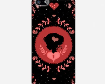 "Smartphone case - iPhone case - Samsung Galaxy Case - Victorian - Cameo silhouette - Miss Shadow - ""I'm in love"""