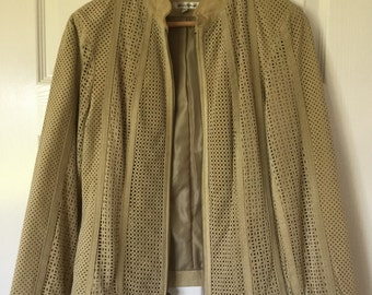 Cream Lazer-Cut Vintage Suede Leather Jacket