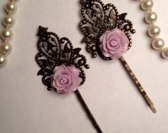Lavender Rose Filigree Hairpins
