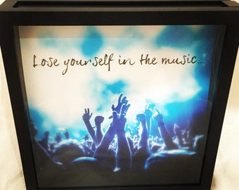 12x12 Concert Ticket Shadow Box, Ticket Stub Box, Graduation Gift, Music Lover Shadow Box, Lose Yourself in the Music