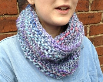 Hand knit cowl, super chunky, light denim blue colour, flecked with purple and red