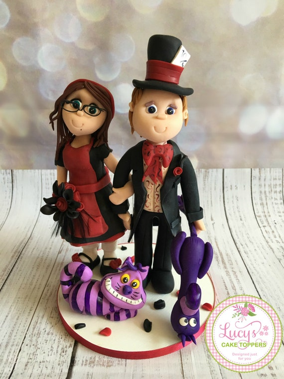 Wedding cake Topper - dark Alice in Wonderland / Halloween Cake Topper
