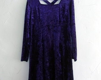 Plus Size 90s Crushed Velvet Crossback Dress