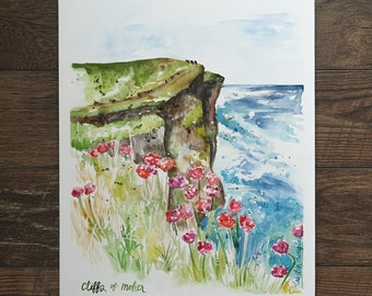 Cliffs of Moher- Watercolor Print