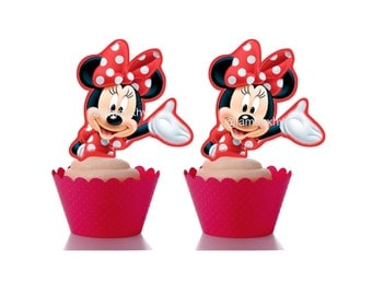 DIGITAL FILE/PRINTABLE Red Minnie Mouse cupcake toppers