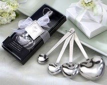 Love Beyond Measure Heart-Shaped Measuring Spoons in Gift Box Unique Keepsakes Bow Bridal Shower Wedding Favors Party Guest Gift Ideas