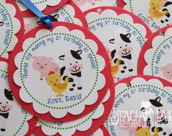 Farm Animals Birthday Favor Tags