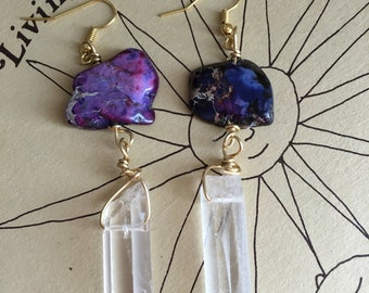 Crystal Dangle Earrings - Crystal Point Earrings - Raw Crystal Earrings - Gold Dangle Earrings - Purple Earrings