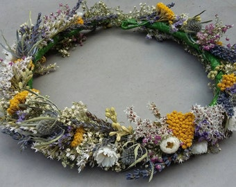 Beautiful Bespoke Handmade Floral Crown. Wide Full Style  Flower Garland, Wedding Hair Piece, Bride, Bridal,  Flowergirl, Halo, Circlet,