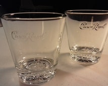 Vintage Set of Two 8 oz Crown Royal On the Rocks Glasses w/ Crown Imprinted on Glass Bottom