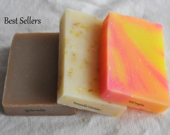 BEST SELLERS, 3 Handcrafted 1oz SOAP, Artisan soap, Handmade Soap, Samples, Travel size, Guest, Trial Size, Cold Process, Party Favors, BS3