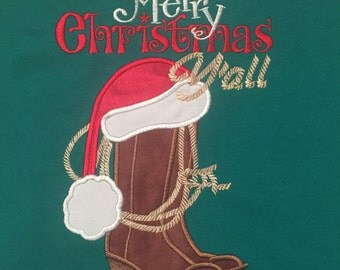Merry Christmas Y'all Applique T-Shirt