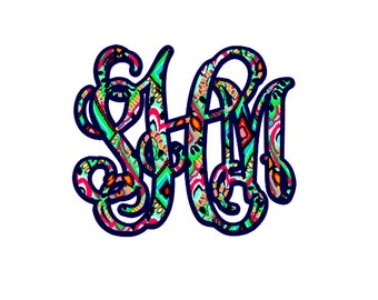 Double Layer Lilly Pulitzer Inspired Monogram Decal- Two Toned Lilly Pulitzer Inspired Monogram- Double Layer Monogram