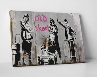 Old Skool by Banksy Gallery Wrapped Canvas Print. BONUS! BANKSY DECAL!