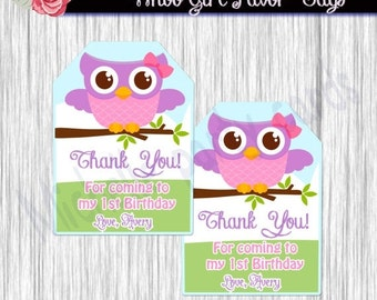 50%off Whooo Favor Tags-Whooo tags-favor tags girl-Favor tags birthday-party favor tags