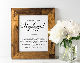 Wedding Sign, Custom Wedding Signage, Unplugged Wedding