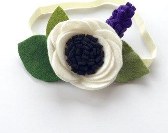 Felt flower headband, flower headband, white, purple