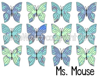 Personalized Notecard Butterfly Teacher Name Teacher Bridesmaid Gift - MOTTLED BUTTERFLY