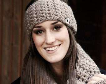 headband, earwarmer, beige,caramel,  pure wool KATJA-merino by zauberhanddesign