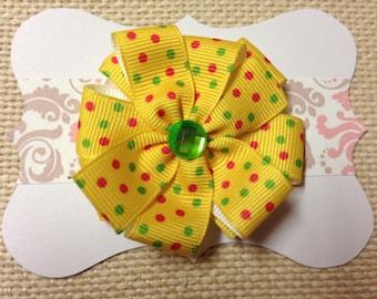 Yellow pinwheel bow, Yellow polka dot bow, yellow bow, yellow ribbon