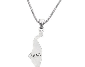 Map of Israel Pendant ---- Sterling Silver