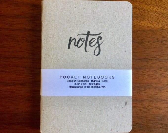 Notes Notebooks 2 pack 3.5in x 5in Pocket Notebook handcrafted journal diary sketchbook gift set handmade kraft Premium Notebook no logos