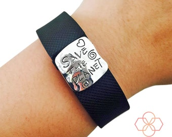 Activity Tracker Charm to Accessorize Fitbit and Other Trackers - The SAVE THE PLANET Silver Charm to Dress Up Your Favorite Fitness Tracker
