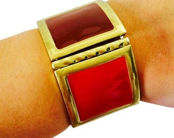 Fitbit Bracelet for Fitbit Flex Fitness Trackers - The STACY Red and Gold Color Block Stretch Fitbit Bracelet - FREE U.S. & Canada Shipping