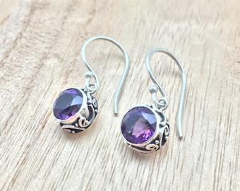 Amethyst Earrings // 925 Sterling Silver // Hypoallergenic // Bali Setting
