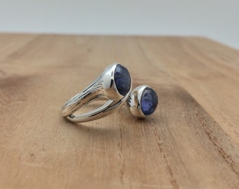 Natural Tanzanite Silver Ring // 925 Sterling Silver // Oxidized Finish // Size 6