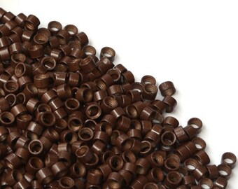 4.5 mm x 3 mm Screw micro rings for hair extensions. Grooved extensions beads. Metal micro rings beads, 100 pieces,Brown (B-000)