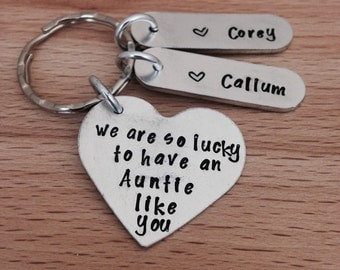 personalised - aunt - auntie gift - gifts for aunt, name keyring, sister gifts, gifts, new baby, birthday gift, hand stamped, UK, personaliz