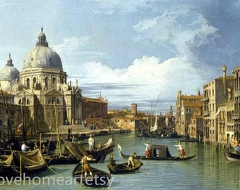 Handpainted Canaletto Oil Painting Reropduction The Entrance To The Grand Canal, Venice For Home Decor Or Gift