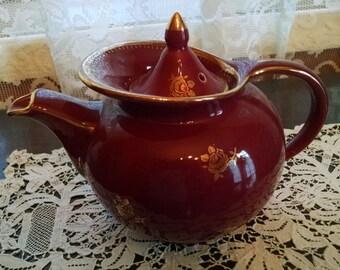 hall burgundy 6 cup # 0698 tea pot