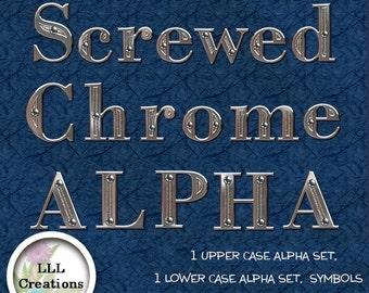 LLL Scrap Creations - Screwed Chrome Alpha - Digital Scrapbooking Kit