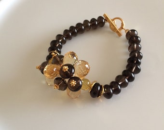 Genuine Citrine and Smoky Quartz Bracelet in Gold Fill CC-18
