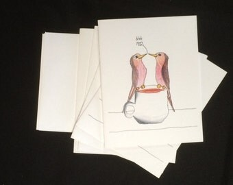 drink your tea!- blank note cards by emily burke - set of 5 with envelopes.