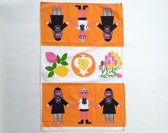 Adorable Folksy Israel Rosen Printed cotton Dishtowel
