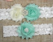 Aqua Wedding Garter, Bridal Garter, Wedding Garter Set, Keepsake Garter and Toss Garter, Pearl and Rhinestone Shabby Chiffon Flower Garter