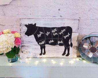 Farmhouse Cow Wooden Sign