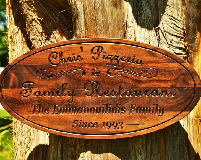 Business Sign Restaurant Sign Pizzeria Personalized Sign Oval Custom Carved Name Sign Personalize Grand Opening Gift Best Unique Gift