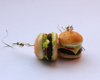 earrings hamburger - Couleur-lavande polymer clay jewelry fimo