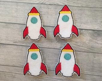 "4 Felt rocket ships 2"""