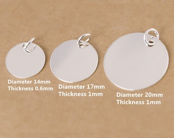 5 Sterling Silver Disc Charms, Sterling Disc Charm, 925 Silver Disc Charm, Sterling Round Disc Tag, Sterling Round Tag 14mm 17mm 20mm - E365
