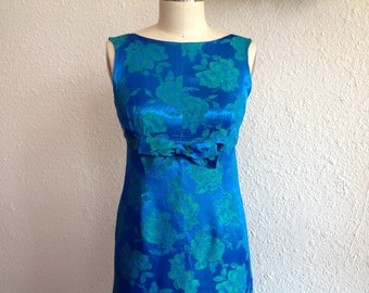 1960s Blue satin party dress